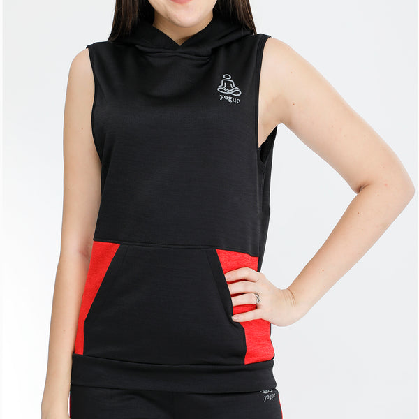Black Red Sleeveless Hoodie