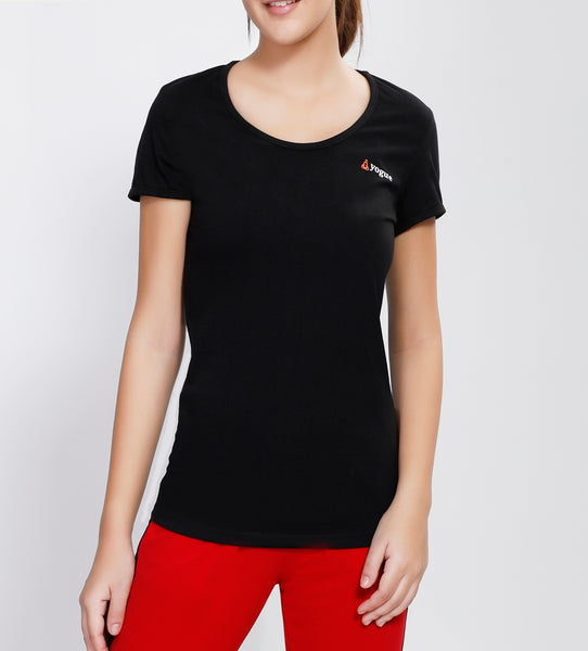 Black Round-neck Cotton T-Shirt
