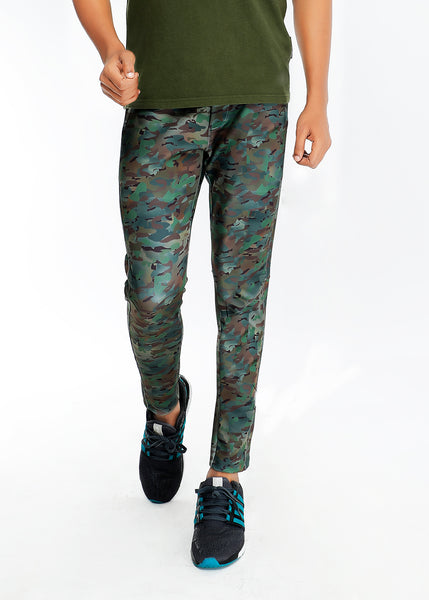 Brown Camouflage Slim-Fit Trackpants