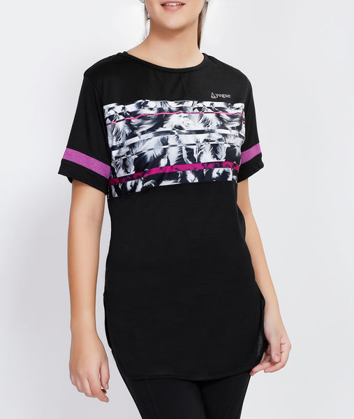 Black Pink Stripes Long T-Shirt