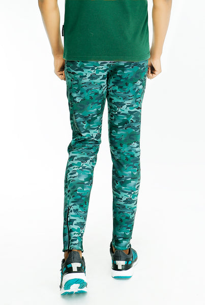 Green Camouflage Slim-Fit Trackpants