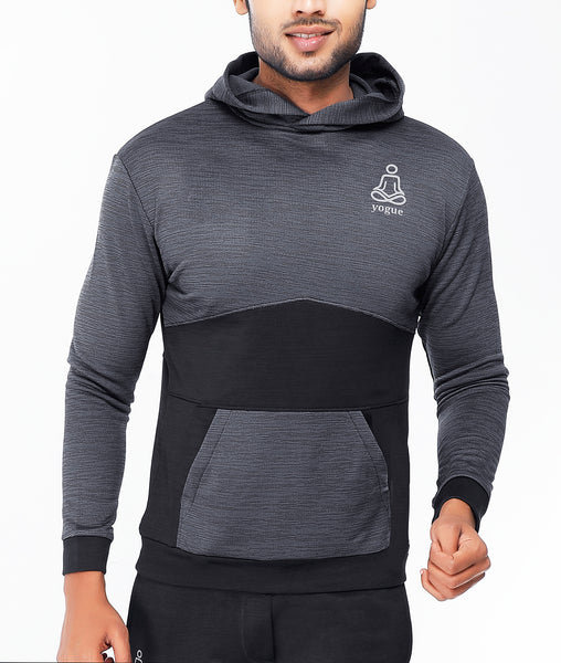 Charcoal Grey and Black Hoodie