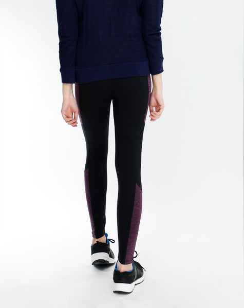 Black Purple Texture Tights