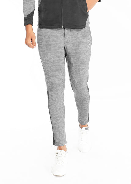 Grey Texture Slim-Fit Trackpants