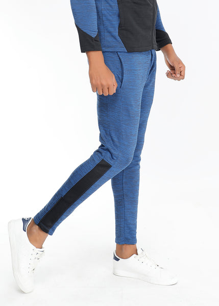 Blue Texture Slim-Fit Trackpants