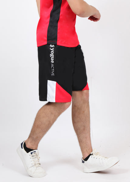 Black Red & White Long Shorts