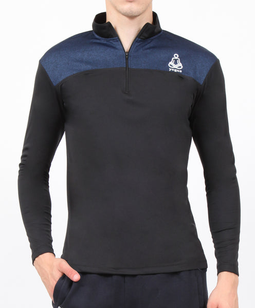 Navy Black Half Zipper
