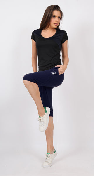 Navy Blue Knee-Fit Capris