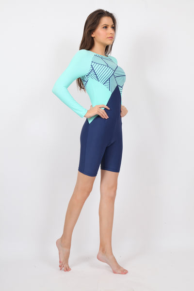 pH7 Blue Green Full Sleeve Knee Length Swimsuit