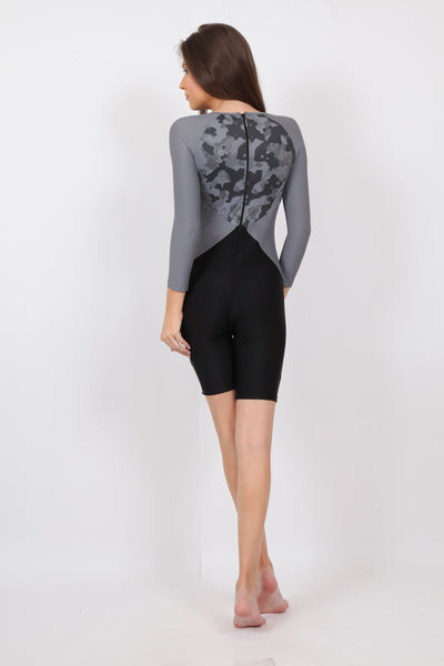 pH7 Black Grey Full Sleeve Knee Length Swimsuit
