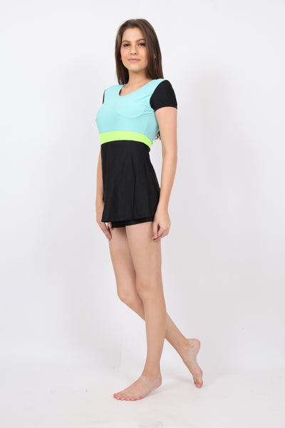 pH7 Black Green Swimsuit With Attached Shorts