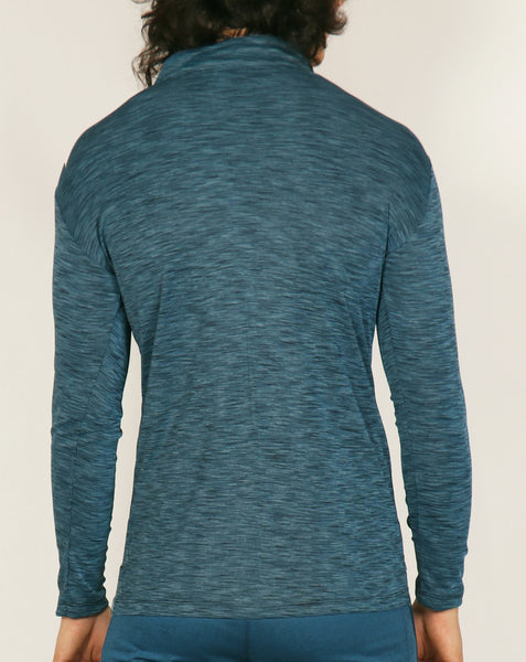 Teal Blue SpaceDyed Half Zipper