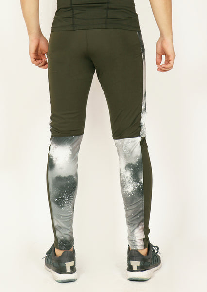 Olive Green & White Men's Running Tights