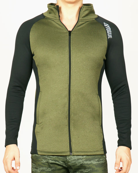 Military Green Black Slim Fit Jacket