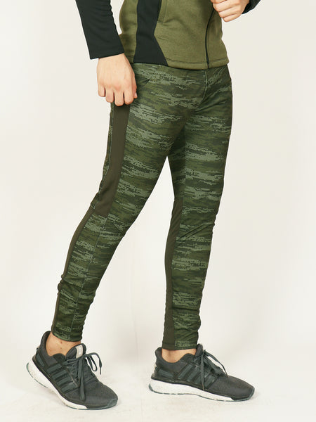 Army Green MicroDots Men's Running Tights