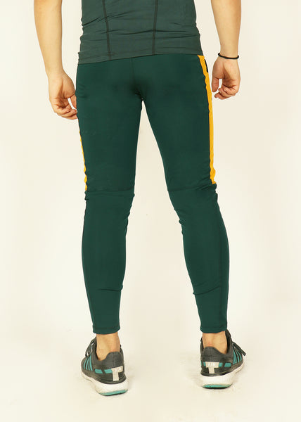Green Yellow Men's Running Tights