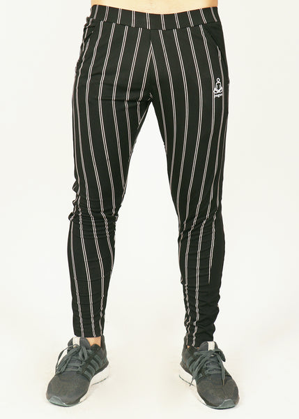 Black PinStripes Men's Running Tights
