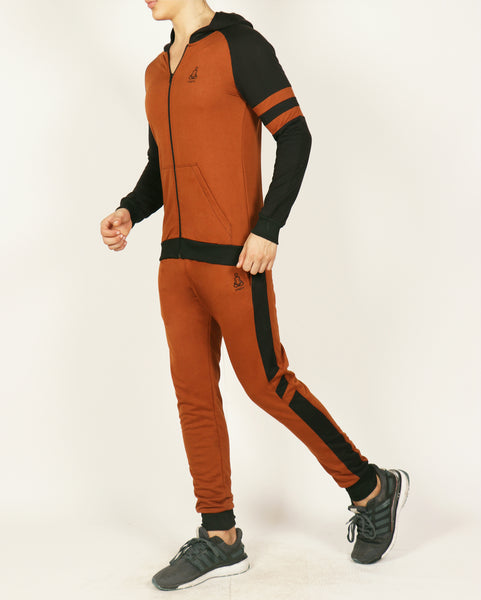 Rustic Brown Hooded Tracksuit with Black Contrast