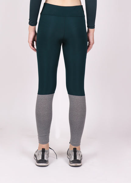 Green & Grey 2Tone Tights with Glitter Logo