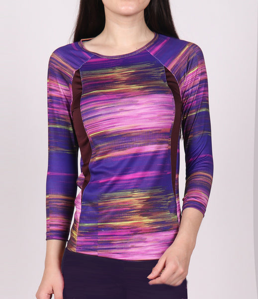 Lilac Texture Quarter Sleeves Top
