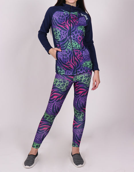 Shop The Look - Jacket + Leggings - Purple Green Abstract