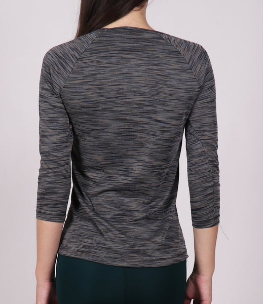 Grey Texture Black Quarter Sleeves Top