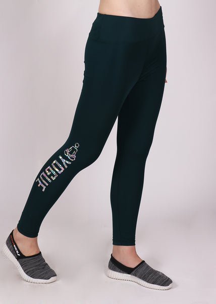 Bottle Green Tights with Glitter Logo