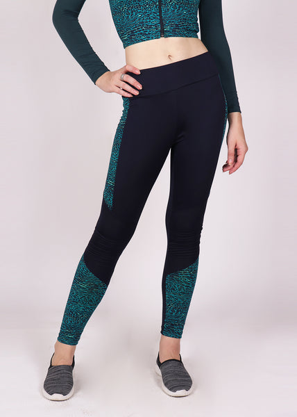 Navy Green Reflection Tights