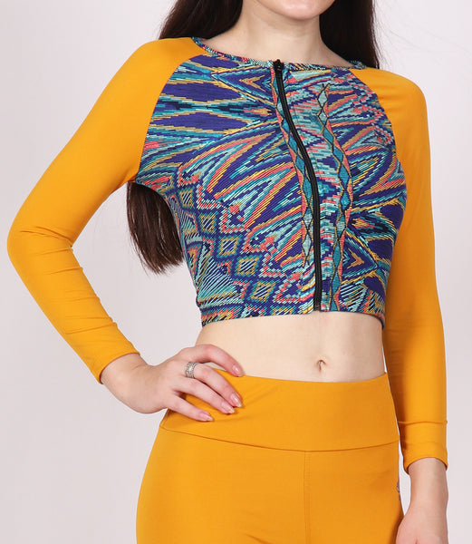 Yellow Zigzag Crop Zipper