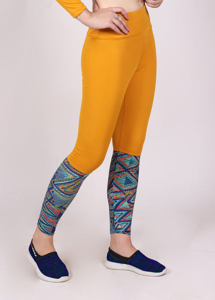 Yellow Zigzag  2Tone Tights