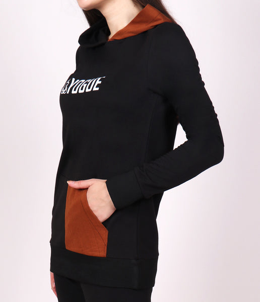 Black Rustic Brown Long Hoodie