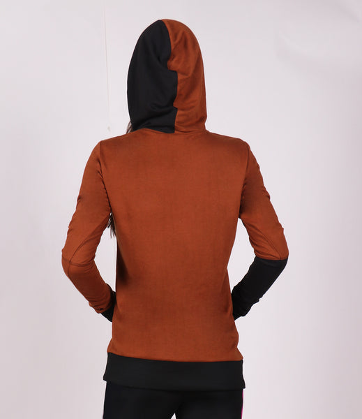 Rustic Brown Black Long Hoodie