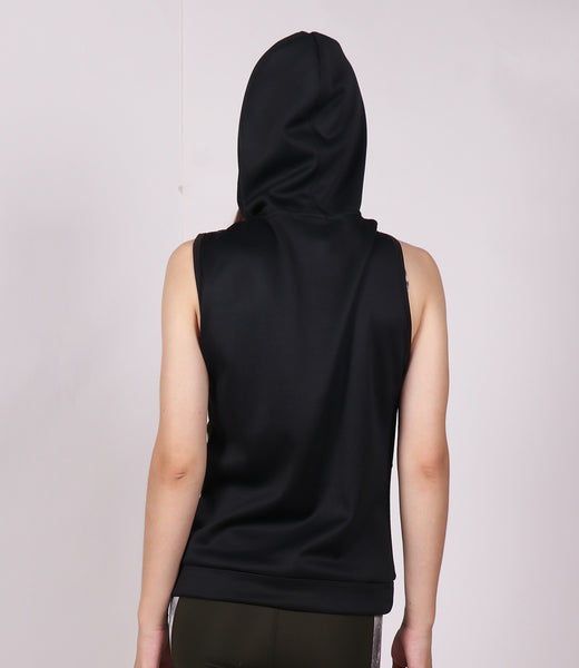 Military Green Black Sleeveless Hoodie