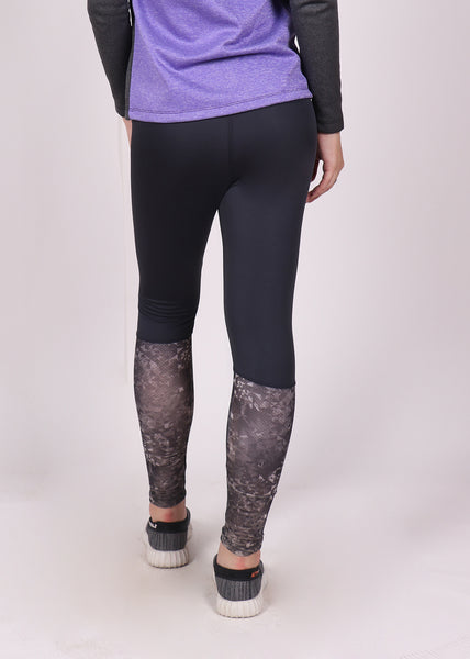 Charcoal Geometrical 2Tone Tights