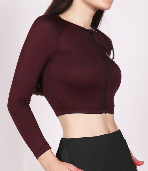 Wine Red Crop Zipper