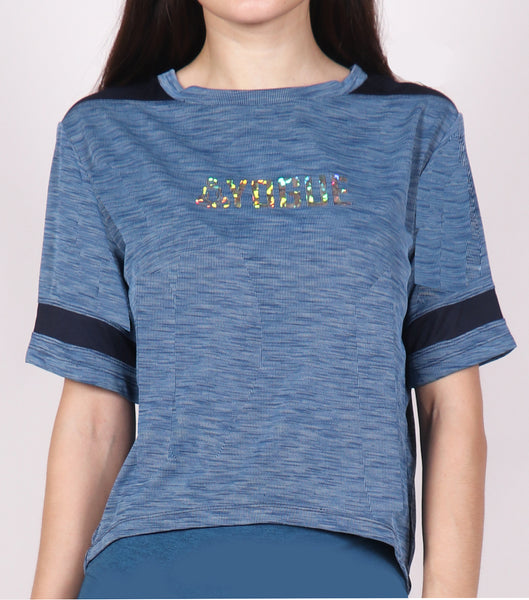 Aqua Blue Crop Top  with Glitter Logo