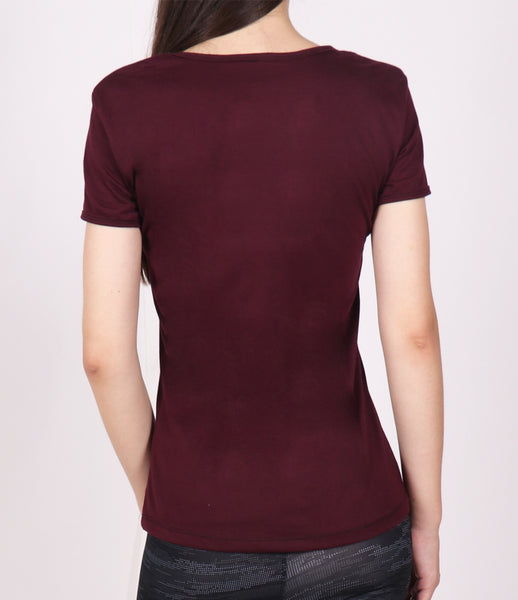 Wine Red Round-neck Cotton T-Shirt