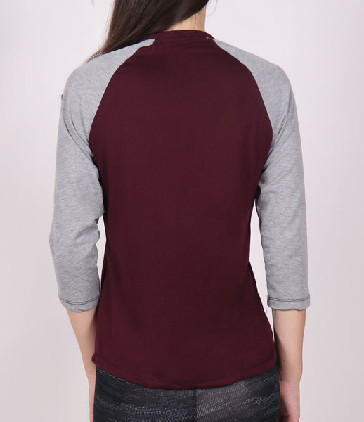 Cherry Grey 3/4th Sleeve Cotton T-Shirt