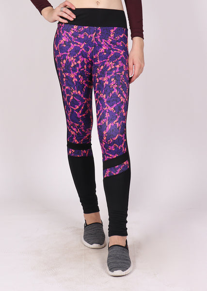 Purple Abstract Black Tights