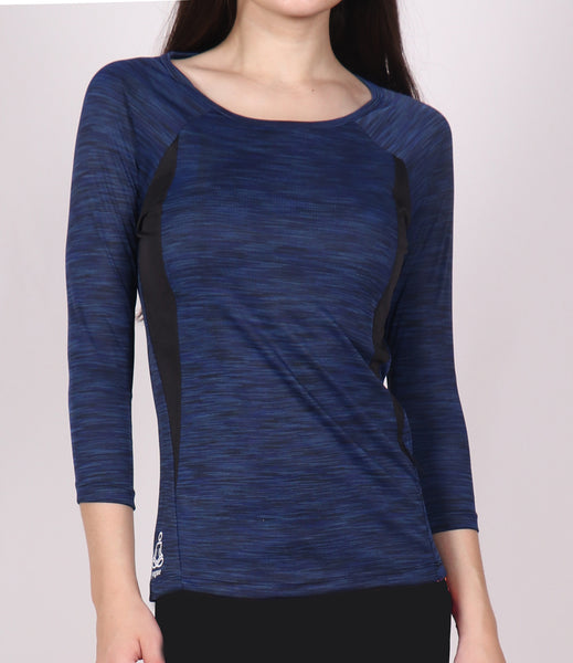Navy Texture Quarter Sleeves Top