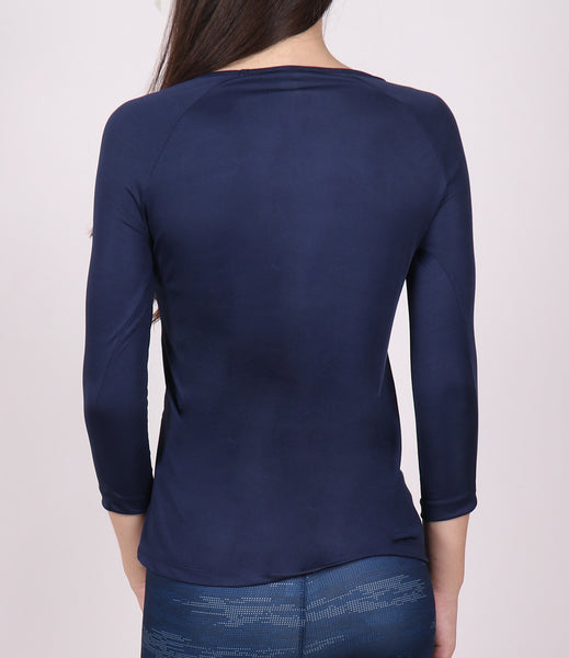 Navy Blue Quarter Sleeves Top