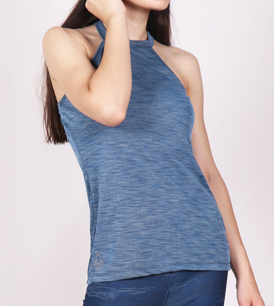 Aqua Blue Halter Tank Top