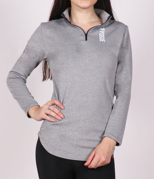 Light Grey Half Zipper Top