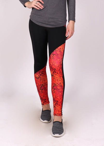 Black Red SlantCut Tights