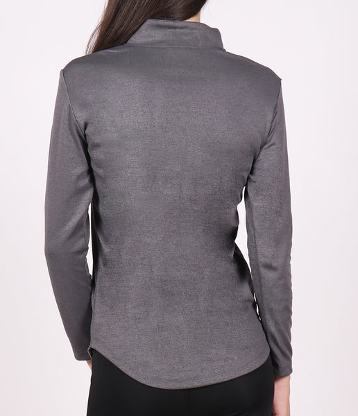 Graphite Grey Half Zipper Top