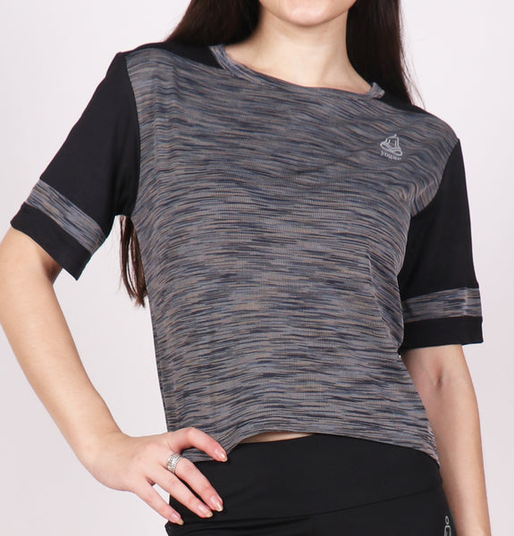 Grey Texture Crop Top