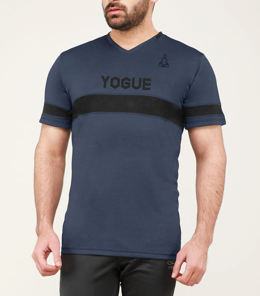 Navy Blue & Black Stripe V-Neck T-Shirt