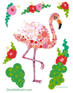 Pink Flamingo Illustration Print Colorful Circles Dots Bubbles - Shipping Included