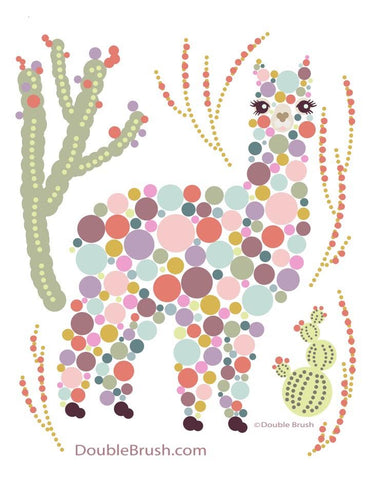 Alpaca Colorful Circles Dots Bubbles Print - Shipping Included