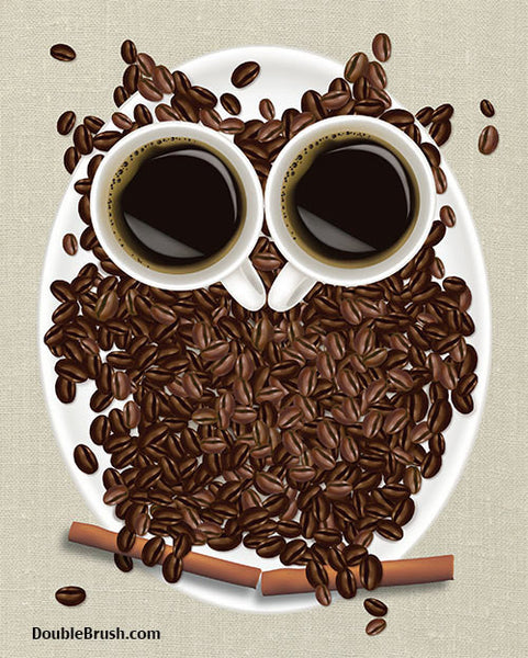 Coffee Bean Owl Print - Shipping Included